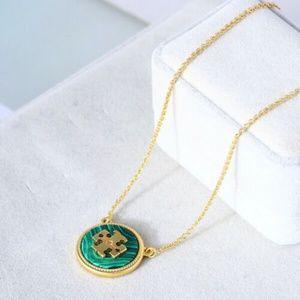 Tory Burch Semi-Precious Green Malachite Necklace